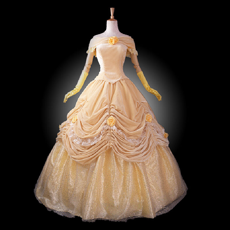 Princess Full Dress Belle Cosplay Costume Women Beauty Beast Prom Ball Dress