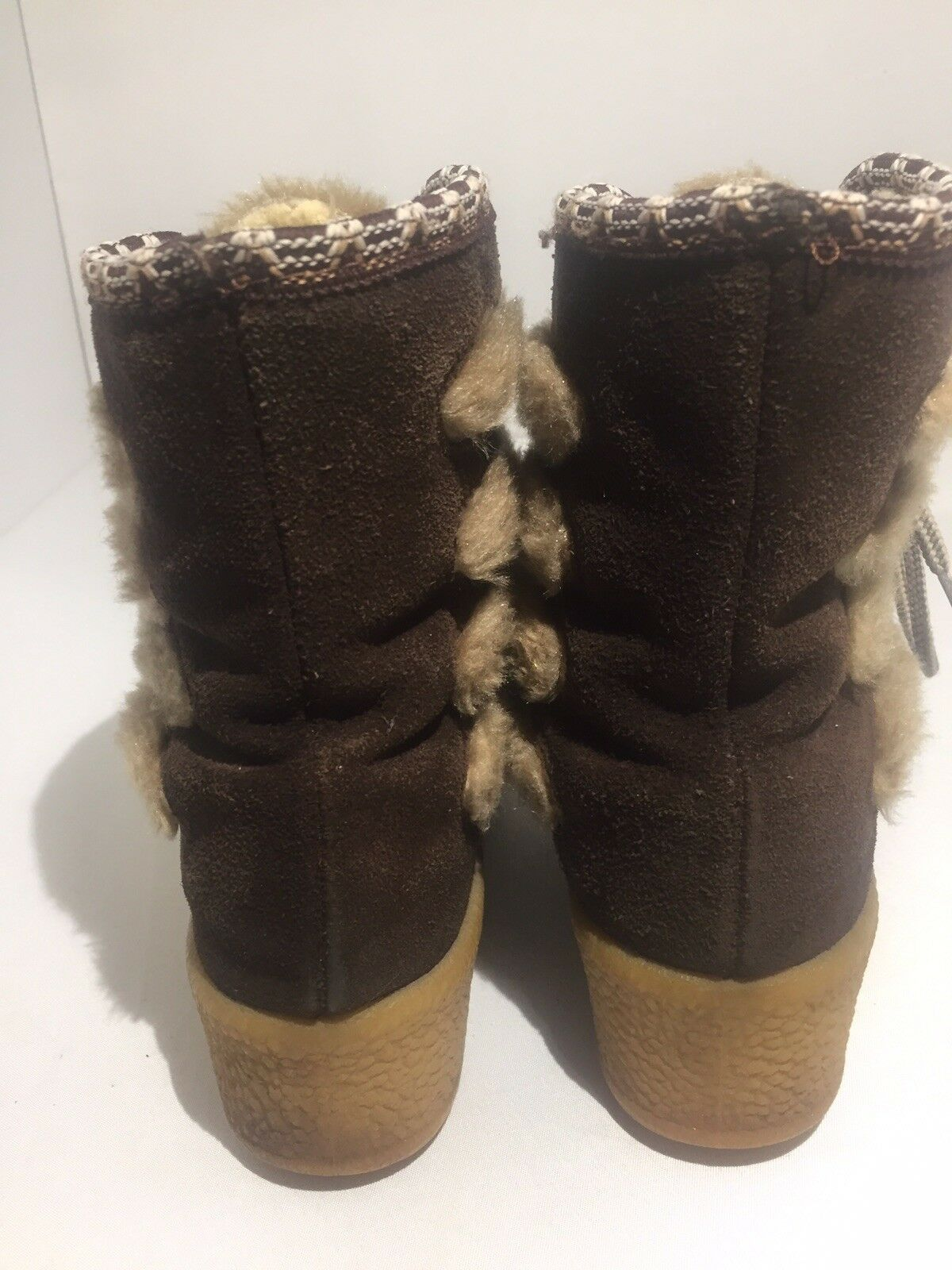 Quoddy Moccasin Womens Brown Suede Faux Fur Lined Lace Up Up Up Boots Size 5 3f0083
