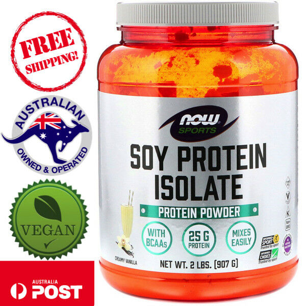 Now Foods Sports Soy Protein Isolate Vegan Powder Natural Vanilla 2 lbs (907 g)
