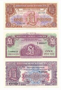 BAF MILITARY UNC NOTES UK BRITISH ARMED FORCES ONE POUND SET 3 /& 4 SERIES 2