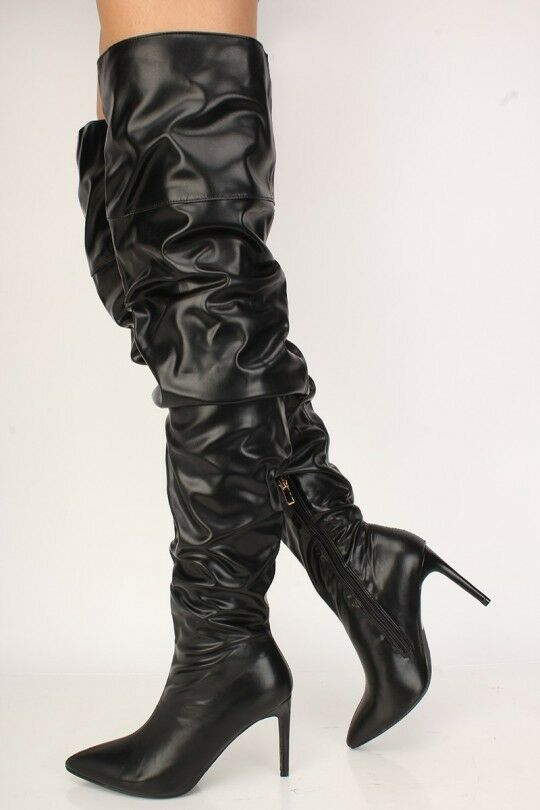 Slouch Pointy Toe Heels Over The Knee Thigh High Boots Black Faux Leather