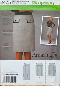 Simplicity-Sewing-Pattern-Pencil-Skirt-Amazing-Fit-16-24-Slim-Curvy-2475-UnCut