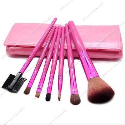 NEW 7 Pcs Make Up Brush Set with Pink soft Case Free Shipping