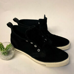 e1bb573bf5b1a2 Image is loading Converse-Black-Suede-Leather-Hi-Top-Sneakers-Lace-