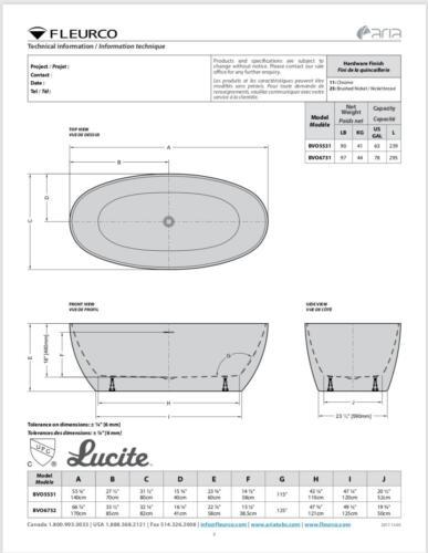 VOCE Grande Modern Euro Acrylic Bath Tub BVO6732-18 Freestanding Fleurco Aria