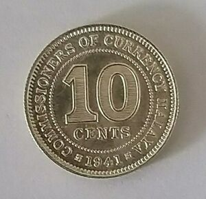 Commissioners-of-Malaya-King-George-VI-10-Cents-Coin-1941-An-EXTRA-FINE-COIN