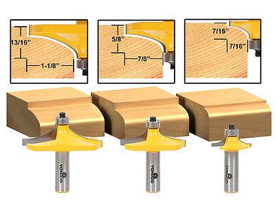 "3 Bit Table Edge Thumbnail Router Bit Set - 1/2"" Shank - Yonico 13340"