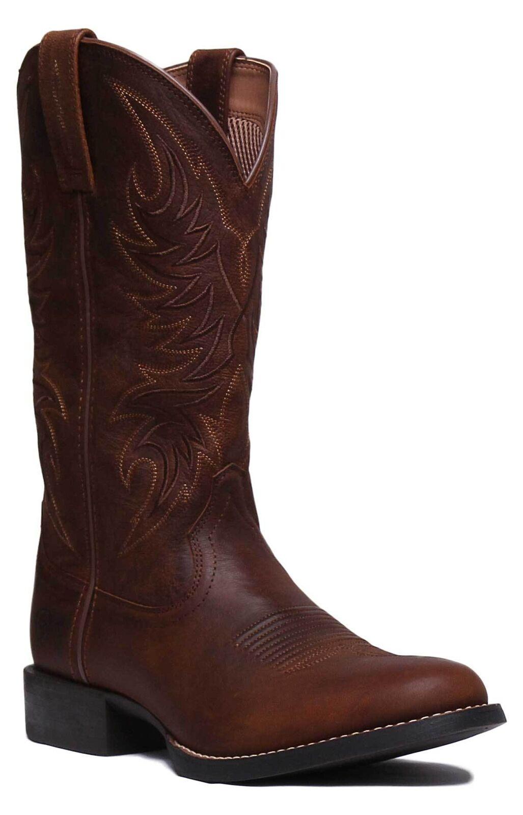 Ariat Sport Horseman Men Leather Tan Western Knee High Boots UK Size 6 - 12