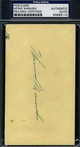Heinie-Manush-1951-Signed-Psa-dna-Gpc-Government-Postcard-Authentic-Autograph