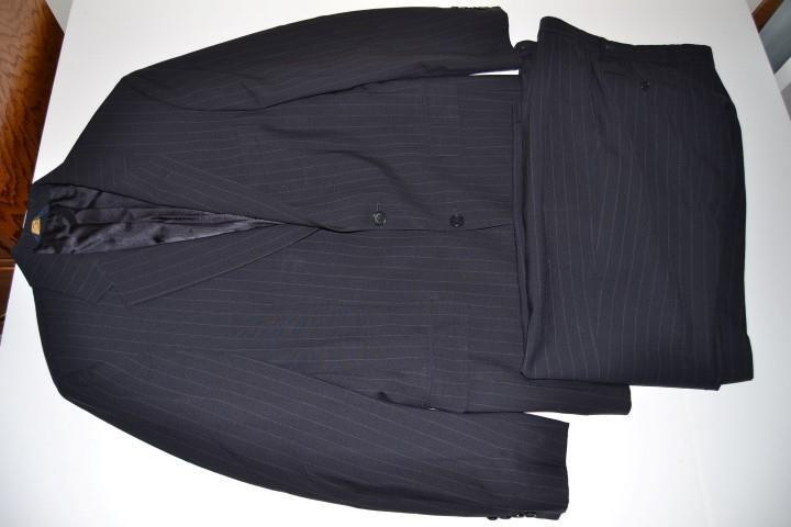 BROOKS BROTHERS 346 NAVY Blau PINSTRIPED 2 BUTTON BLAZER SUIT  Herren SIZE 41R