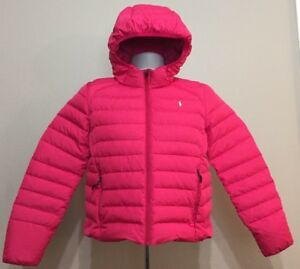 2075a34f Details about Ralph Lauren Polo Puffer Jacket Girls Pink White Pony Youth  XL (16)