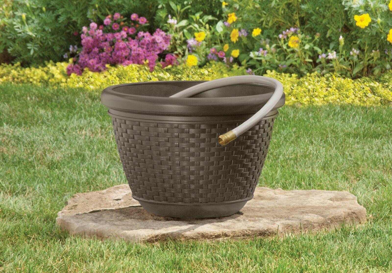 100 ft. Resin Wicker Hose Decorative Planter Pot, Java Brown