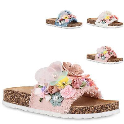 reputable site 44e4e 090c3 Damen Pantoletten Blumen Sandalen Flats Hausschuhe Schlappen 830171 Trendy  Neu   eBay
