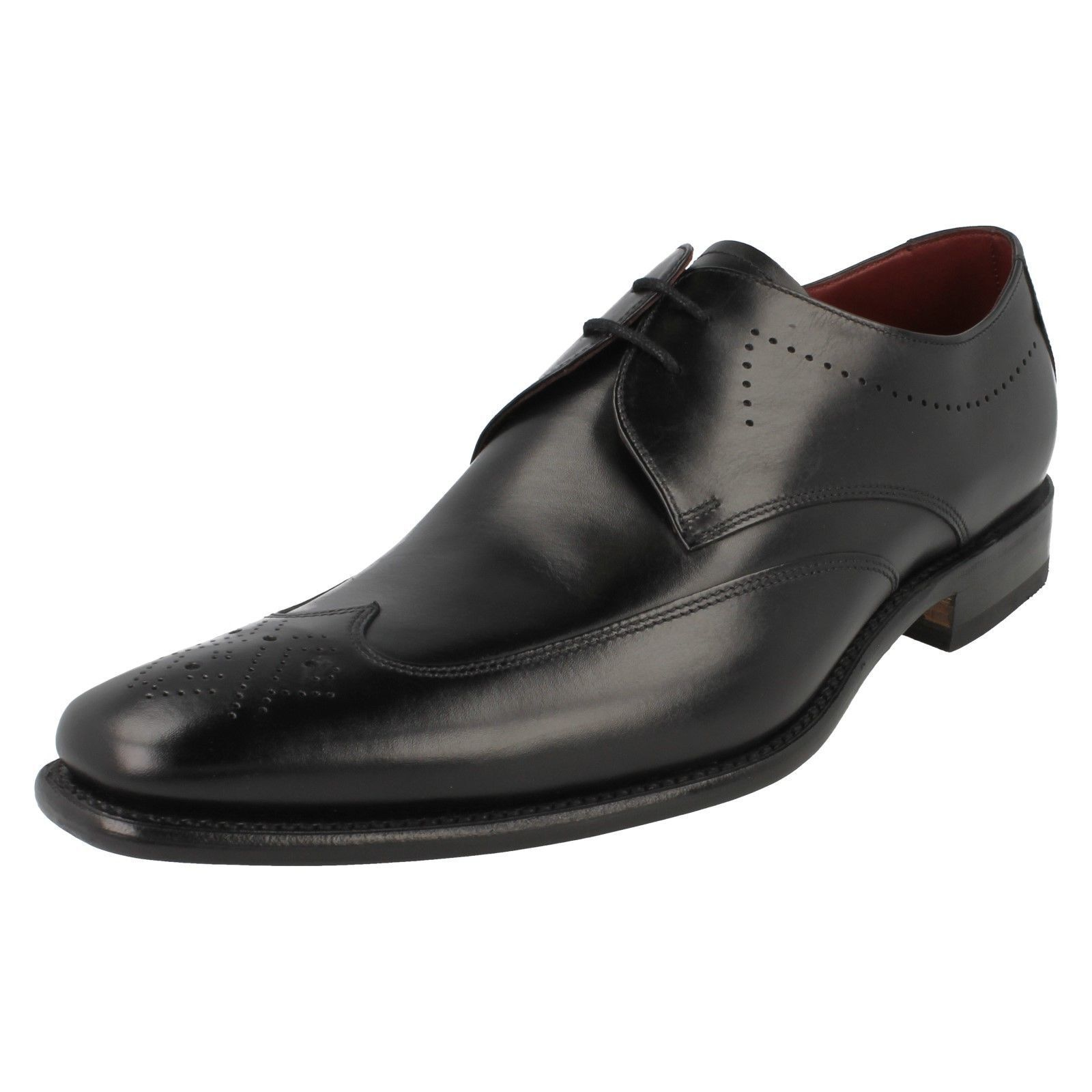 Mens Stitch black leather lace up shoes by Loake £150.00