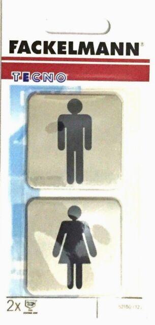WC Male/Female Doorplate Stainless Steel 2 pcs Self Adhesive Toilet Door Ladies