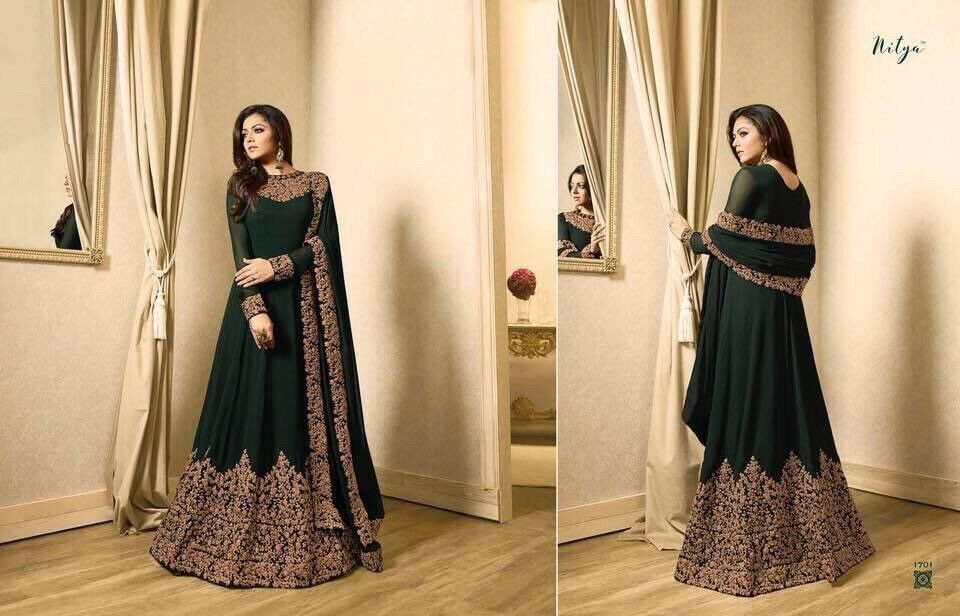 Indian Designer grön Anarkali kostym Pkonsty Wear Dress Fully Stitched XL 42 65533;65533; busst