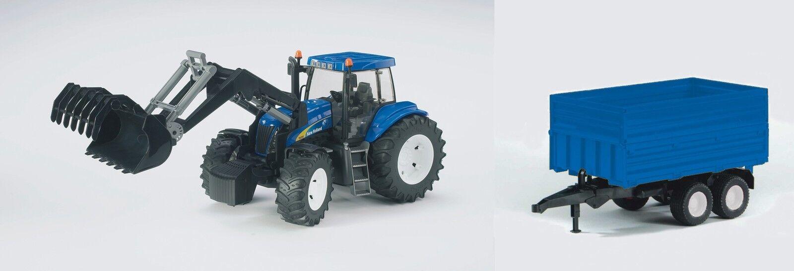 BRUDER®  01993 New Holland T8040 + Frontlader & Tandemachsanh. (blau), NEU & OVP