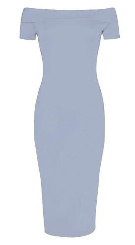 UK New Womens Off Shoulder Bardot Dresses Ladies Party Bodycon Midi Dress 8-26