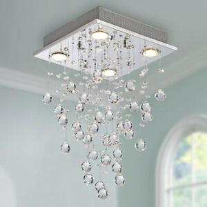 Details About Modern Crystal Raindrop Chandelier Lighting Flush Mount Led Ceiling Light Lamp