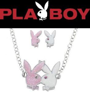 Playboy-Jewelry-Set-Necklace-Earrings-Silver-Swarovski-Crystal-Pink-Bunny-Logo