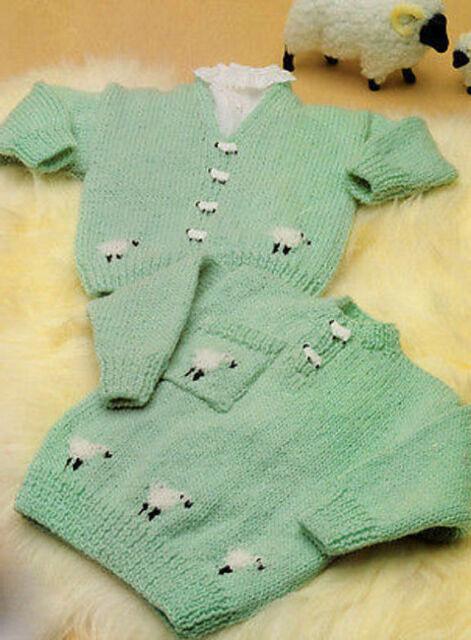 Baby Childrens Sheep Motif Sweater And Cardigan Dk Knitting Pattern