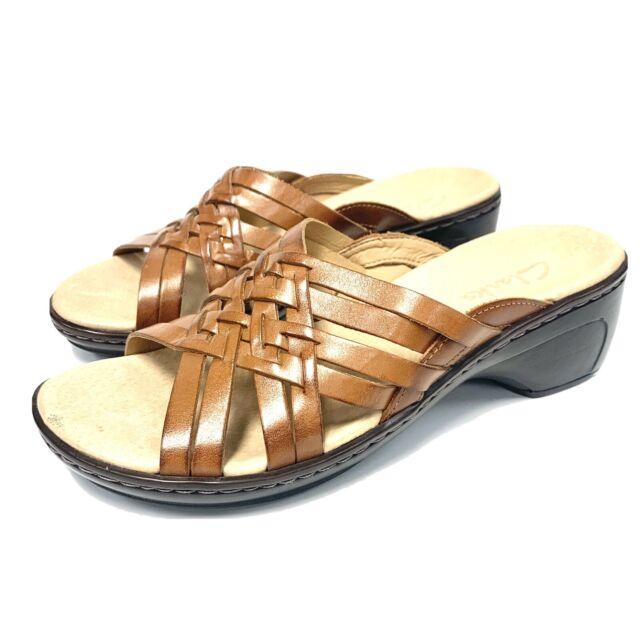 Enajenar Bisagra visión  Clarks Artisan Tan Leather Strappy Slides Wedge Sandals 85362 Women Size 8  M for sale online | eBay