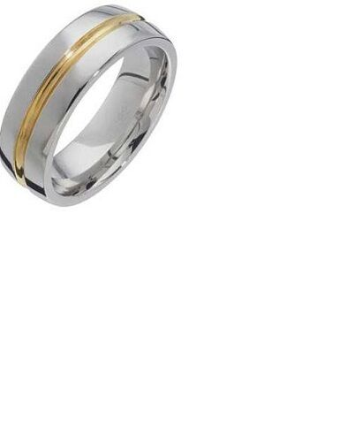 Stainless Steel Two-Tone Polished Band Ring 6mm