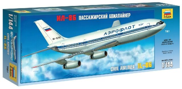 Il-86 Ilyushin Civil Airliner 1:144 Plastic Model Kit ZVEZDA