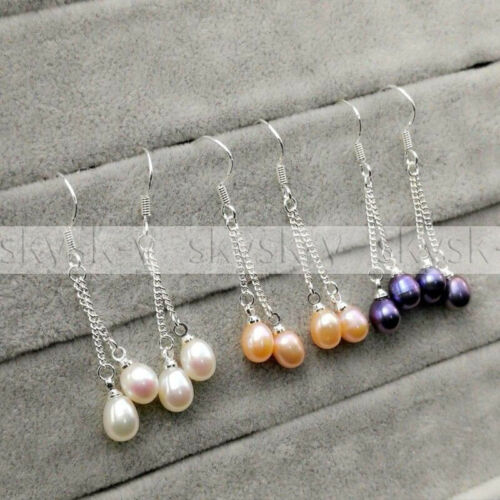 3 Pairs 7-8MM White Pink Black Freshwater Pearl 925 Sterling Silver Hook Earring