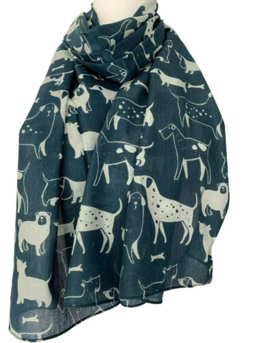 Dog Scarf Blue Pug Westie Scottie Dalmatian Dogs Schnauzer Cotton Blend Wrap