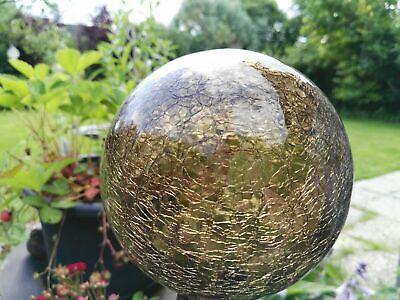 Garten Deko Braun Klar 12cm Groß Glaskugel Glas Lightball Craque Kugel Dekokugel