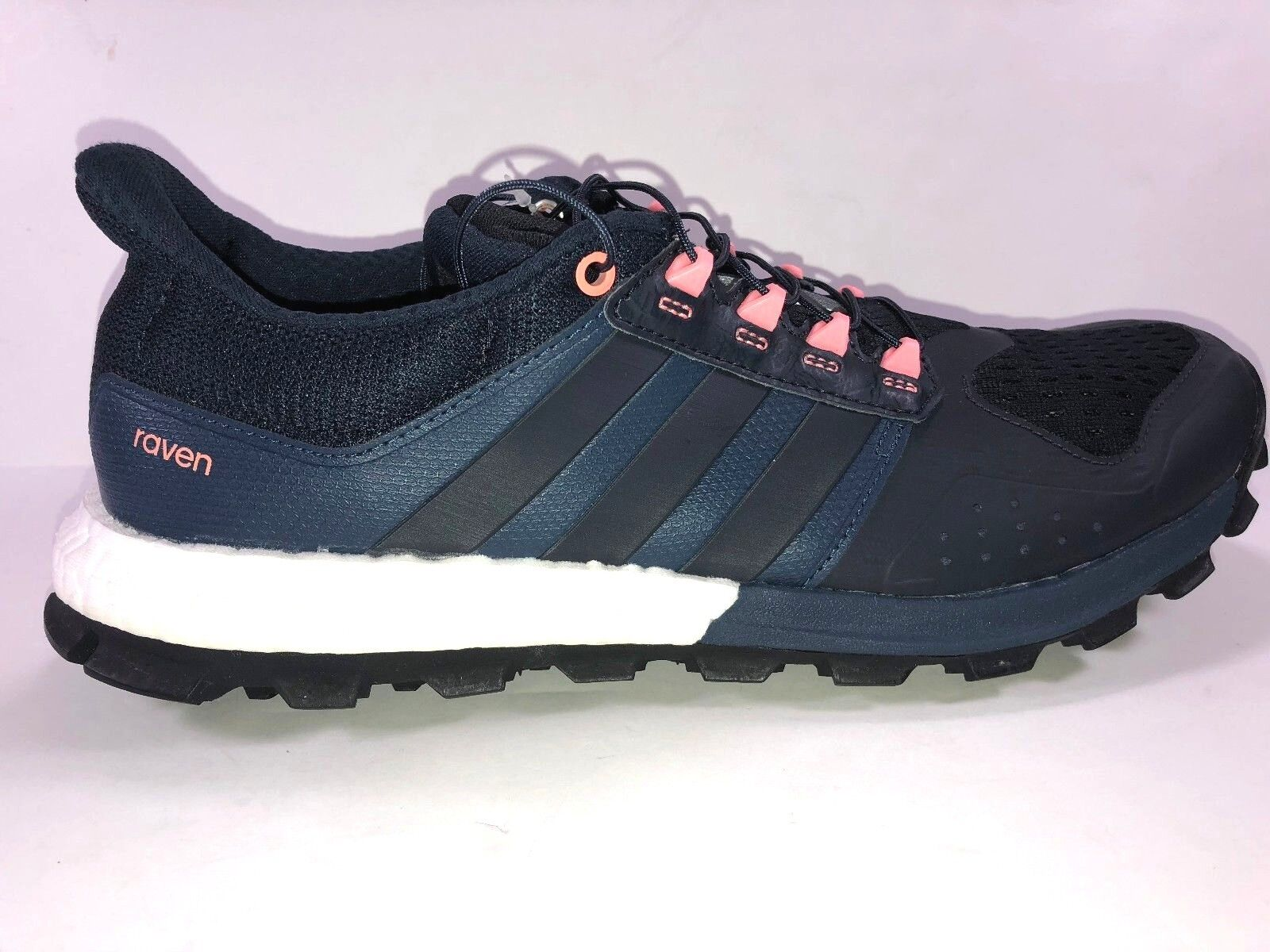 Adidas Women Size 10.5 Adistar Raven Boost Trail Running Shoe Blue & Pink New