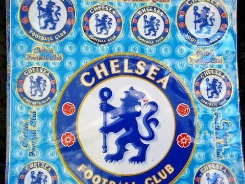 6 x A4 Chelsea United Football Club Sheets of Shiny Foil Stickers 475 Party Bag