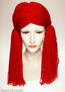 Rag Doll Wig Long Red Yarn Pigtail Doll   Clown Character Costume ... 91a97a886