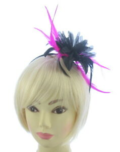 Image Is Loading Black Flower And Cerise Pink Fascinator Headband