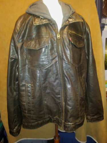 Mens XXL hooded Faux Leather Levis Brown Bomber Ja