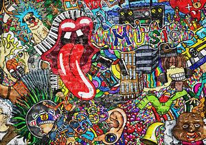 A1-Graffiti-Art-Poster-Print-A1-Size-60-x-90cm-Pug-Musical-Decor-Gift-14883