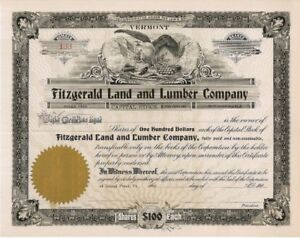 Fitzgerald-Land-and-Lumber-Company-gt-1900-039-s-Vermont-old-stock-certificate-share