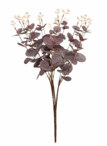 Grape 16 Stem Silk Eucalyptus Slim Bunch 45 cm with Plastic Toppers