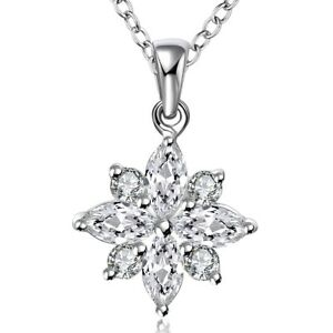 Pave-Snowflake-Crystals-Pendant-Necklace-in-18K-White-Gold-with-18-034-Chain-ITALY