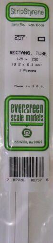 Evergreen Strip Styrene 257. 3 Pces .125x.250 Rectang. Tube