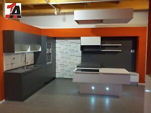 Alno küchen mit kochinsel  ALTANO Einbauküche KOCHINSEL KÜCHE Musterküche anthrazitgrau/weiss ...