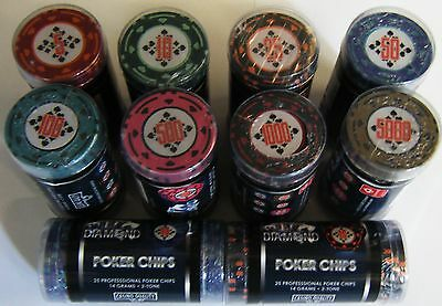 25 x 14g Diamond Casino Quality Poker Chips NEW