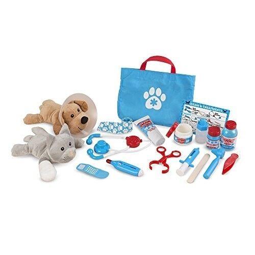 Melissa Doug Pet Vet Play Set Toy Grooming Care Kit Examine Treat 24 Pieces