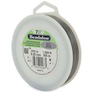 "Beadalon BRIGHT .012/"" Bead Stringing Wire 7 Strand Flex Wire 1000ft Bulk Spool"