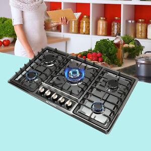 34-034-Black-Titanium-Steel-Cooktops-5-Burners-Gas-Stoves-Top-Hob-amp-NG-LPG-Kitchen