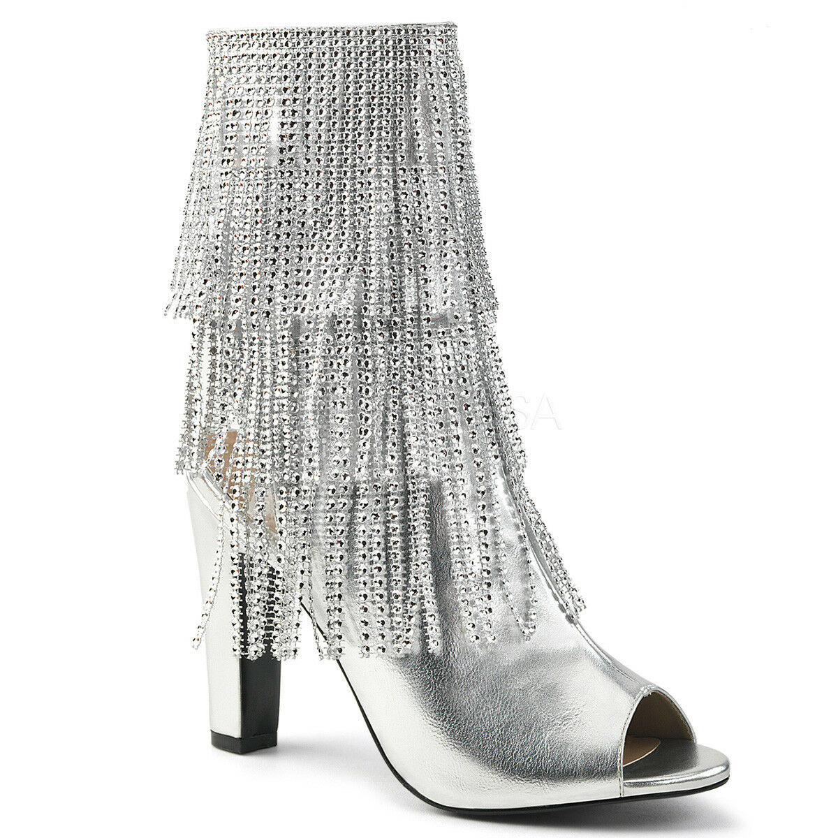 Pleaser QUEEN-100 Damenschuhe Silver Faux Leder Open Toe Fringe Ankle Mid-Calf Boot