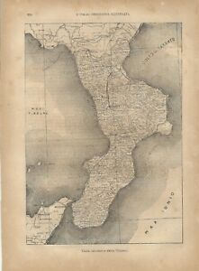 Cartina Giografica Calabria.Carta Geografica Antica Calabria 1891 Old Antique Map Ebay