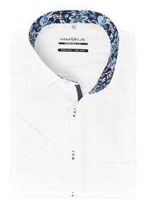 Marvelis Comfort Fit Hemd Halbarm New Kent Kragen bügelfrei Struktur Weiß