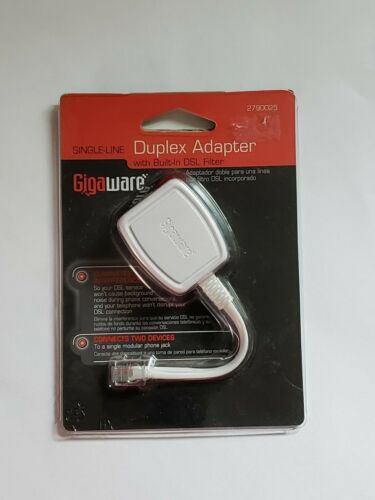 Gigaware Single-Line Duplex Adapter with Built-In DSL Filter Connects 2 Devices